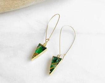 Emerald Triangle Mojave Drop Earrings. Gold Emerald Green Statement Earrings. Gold Mojave Triangle Earrings