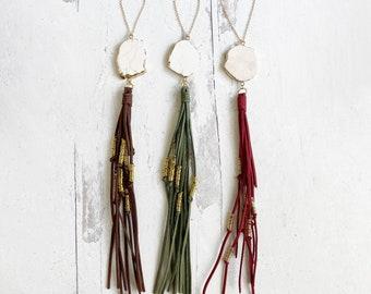 Boho Tassel Necklaces with White Turquoise Stones. Long Tassel Statement Necklace. Boho Jewelry