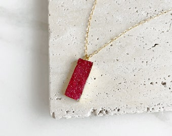 Ruby Red Druzy Necklace in Gold. Rectangle Bar Necklace. Red Fuchsia Druzy Necklace. Simple Gold Red Bar Necklace