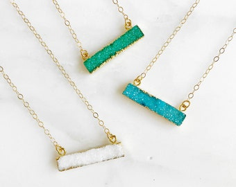 Druzy Bar Necklaces in Gold. Dainty Bar Necklace. White Green Blue Druzy Necklace. Geometric Bar Necklace. Layering Necklace. Jewelry Gift
