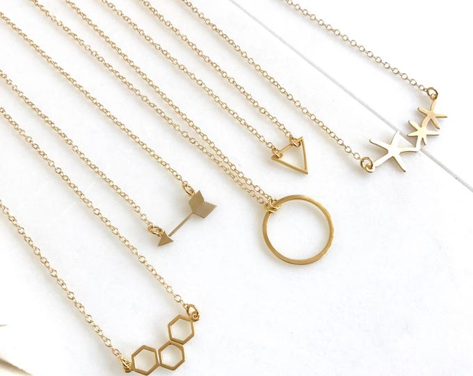 Layering Necklace. Gold Charm Layered Necklace. Simple Layering Necklace. Layered Necklace. Gold Necklace. Arrow, Triangle, Honeycomb, Star.
