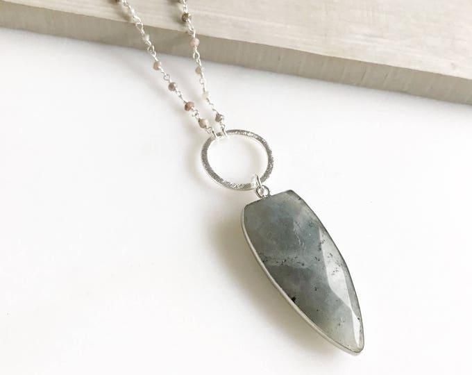 Boho Jewelry Necklace. Boho Necklace Long. Silver Boho Necklace. Long Labradorite Necklace. Stone Pendant Beaded Necklace.