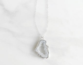 Raw Stone Necklace in Sterling Silver. White Grey Druzy Necklace. Geode Crystal Necklace