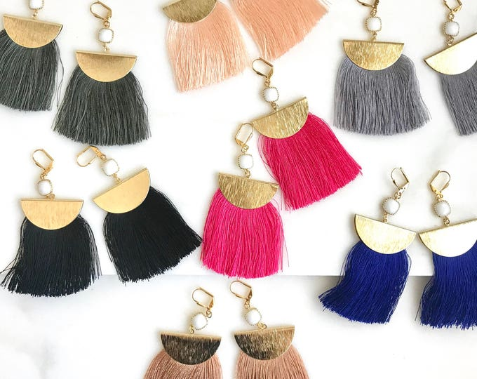 Tassel Earrings.  Chandelier Earrings. Colorful Tassel Earrings.  Tassel Earrings. Jewelry Gift. Gold Tassel Earrings. Christmas Gift.