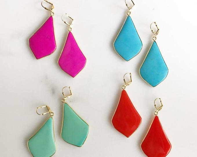 Fancy Kite Statement Earrings in Gold.  Colorful Kite Earrings. Colorful Statement Earrings. Colorful Dangle Earrings. Statement Jewelry.