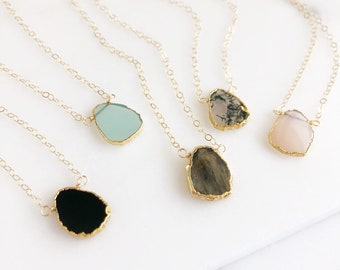 Gemstone Slice Necklaces in Gold. Layering Necklace. Aqua Chalcedony, Black Onyx, Moss Agate.
