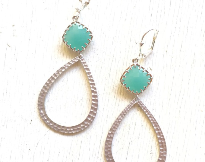 Aqua Jewel and Silver Teardrop Earrings.  Statement Earrings.  Dangle Earrings.  Jewelry Gift.  Dangle Earrings.  Jewelry.
