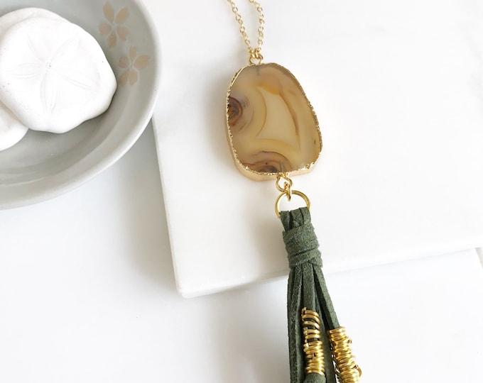 Boho Tassel Necklace. Brown and Green Tassel Necklace. Long Stone Slice Tassel Necklace. Boho Jewelry. Unique Gift Idea.