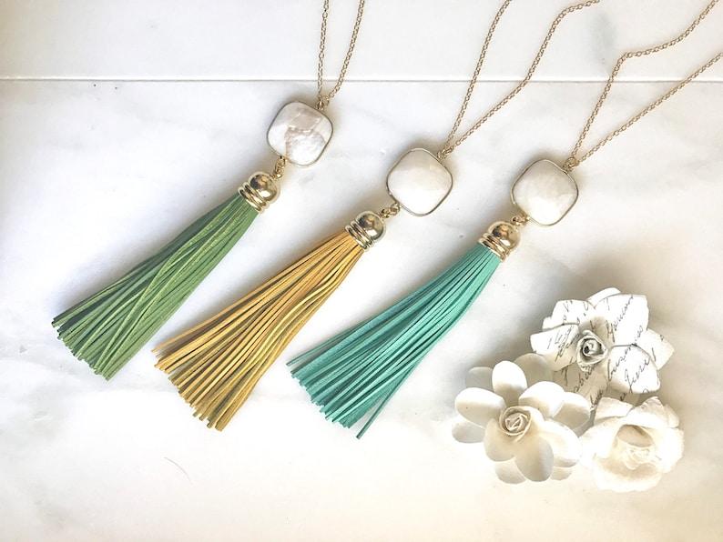Tassel Necklace Long Tassel Necklace Boho Tassel Jewelry. White Stone and Aqua Mustard or Green Tassel Necklace Leather Tassel Necklace