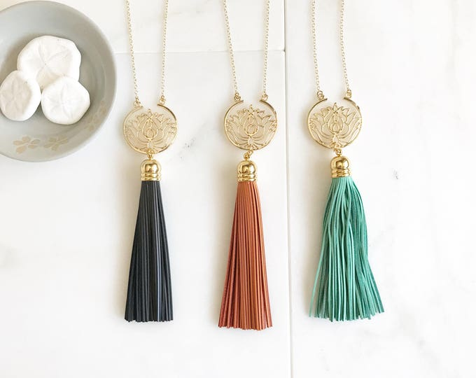 Lotus Tassel Necklace. Leather Tassel Necklace.  Long Colorful Tassel Necklace. Long Tassel Necklace. Yoga Tassel Jewelry. Gift.