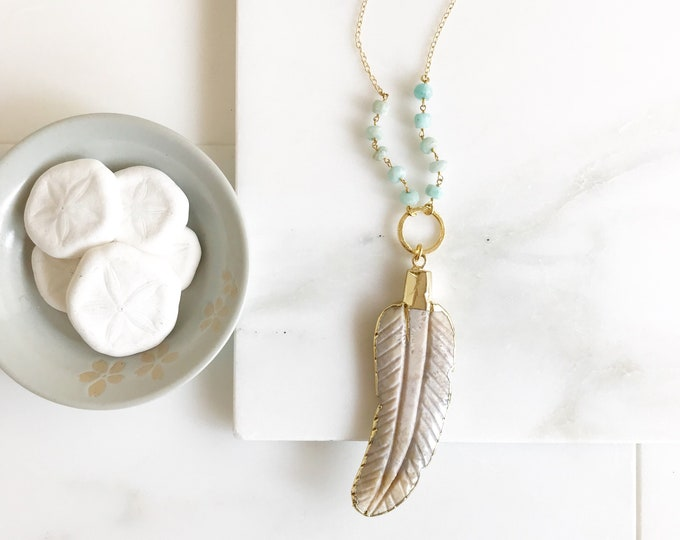 Long Leaf Necklace. Long Ivory Stone Leaf Layering Necklace. Long Stone Feather Necklace. Beaded Necklace. Jewelry. Boho Jewelry. Gift.