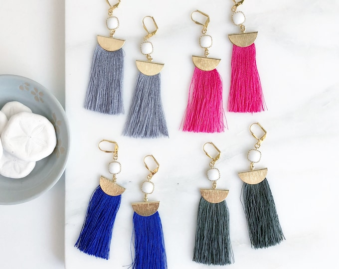 Tassel Earrings.  Chandelier Earrings. Colorful Tassel Earrings.  Long Narrow Tassel Earrings. Jewelry Gift. Gold Tassel Earrings. Jewelry.