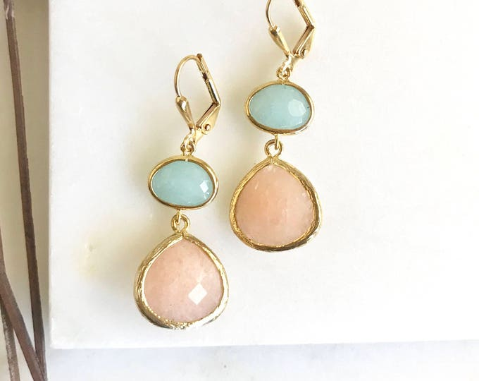 Earrings Peach and Blue Jade Bridesmaids Earrings. Dangle Earrings. Drop Earrings. Bridesmaid Earrings. Bridal. Drop Earrings. Wedding.