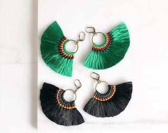 Fan Tassel Earrings.  Fall Colors. Green or Black Tassel Earrings. Chandelier Earrings. Tassel Dangle Earrings.  Statement Earrings. Jewelry