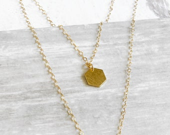 Tiny Hexagon Layering Necklace in Gold. Simple Brass Geometric Pendant Choker