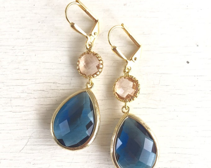 Wedding Earrings. Bridesmaid Earrings. Champagne Peach and Navy Earrings.  Bridesmaid Jewelry. Drop Dangle Earrings. Gift. Gold Earrings.