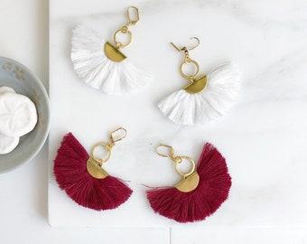 Tassel Earrings.  Chandelier Tassel Earrings. White or Wine Red Tassel Dangle Earrings.  Statement Earrings. Jewelry. Gold Tassel Earrings.