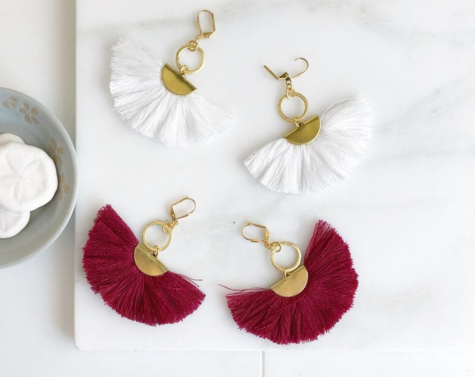 Tassel Earrings.  Chandelier Tassel Earrings. White or Wine Red Tassel Dangle Earrings.  Statement Earrings. Jewelry. Gold Tassel Earrings.