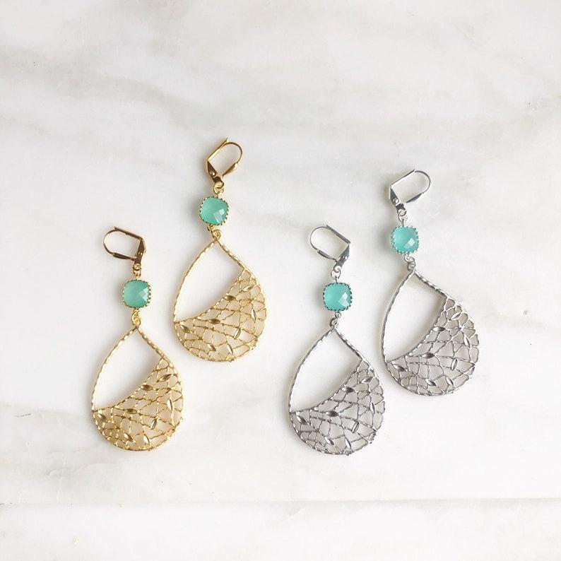 Turquoise Chandelier Earrings.  Dangle Earrings.  Statement image 1