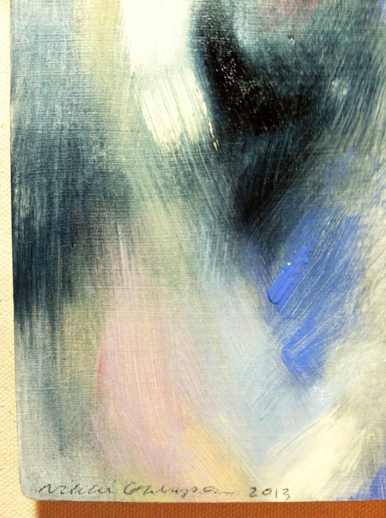 Blue Shadow original abstract oil painting on wood blue white cream pink periwinkle modern art