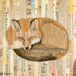 11x14 archival giclee print artwork reproduction of original mixed media soft pastel and vintage book page collage Sitting Fox on Collage