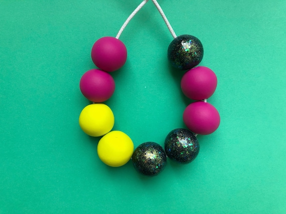 Glitter, hot pink & neon yellow clay necklace