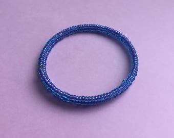 SALE, Memory wire bracelet, blue bangle, blue beaded bracelet, purple bangle, purple bead bracelet, blue bead bracelet, blue bracelet