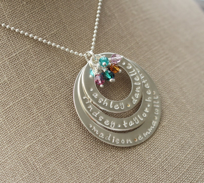 Custom Mommy Jewelry Grandmother Necklace Mothers Necklace Sterling Silver Personalized Washer Necklace Eternity Necklace Personalized