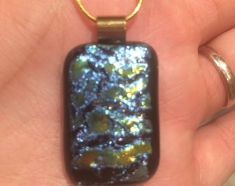 Fused Dichroic Glass Pendant on Gold Chain - Iridescent Texture on Black