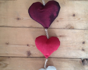 Fabric Decoration - Red and White Fabric Hearts on Natural Jute Twine