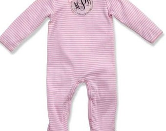 fa00f11bb Infant/Baby Pink Sleeper Outfit Monogrammed - Matching Bib - Mud Pie - Coming  Home Outfiy - Baby Shower Gift
