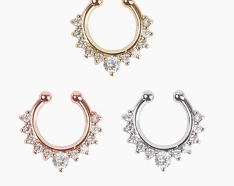 902f2a437 Free Shipping Faux Fake Septum Nose Ring Body Jewelry Charms Nose Ring  Fashion Boho Indian Tribal Festival Party Costume Rhinestones Gifts