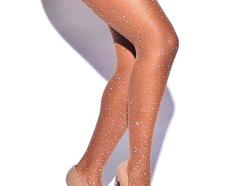 26234a8e251d3 Rhinestone Nude Fishnet Elastic Stockings Tights Pantyhose Mesh