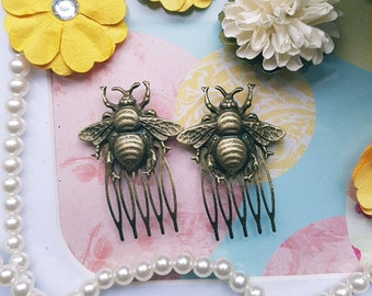Antique Brass Bumblebee Hair Combs Decorative Hair Accessories Bee Hive Classy Beautiful Hair Styles Fashion Hair Clips Bees Vintage