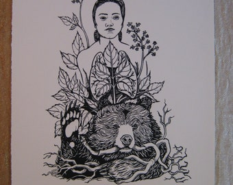 Silk Screen Print: Aralia (Bear Medicine)--Fine Art Print Ready to Frame