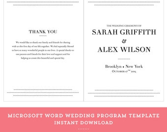 Dots Wedding Program Etsy - Easy wedding program template