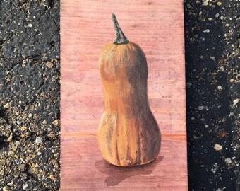 Butternut - Seasonal Squash - Acrylic painting on wood block