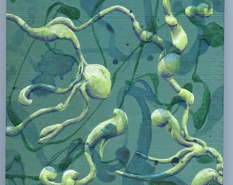 Elan Vital III - small abstract painting on wood block, original artwork