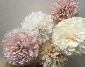 Barn wedding decor etsy paper pom poms set of 10 your color choice vintage dusty rose burlap and lace color decorations barn wedding decor rustic wedding junglespirit Choice Image