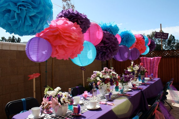 30 Tissue Pom Poms Mad Hatter Tea Party Decorations Your Etsy