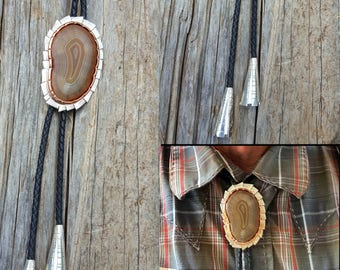 Stunning Lake Superior Agate Bolo Tie Sterling Silver and Copper on Leather Cord with Sterling Tassles