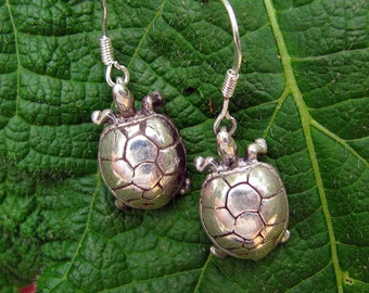 Adorable Handmade Woodland  Silver Turtle Drop Earrings in Sterling Silver, Nature Inspired, Eco-Friendly