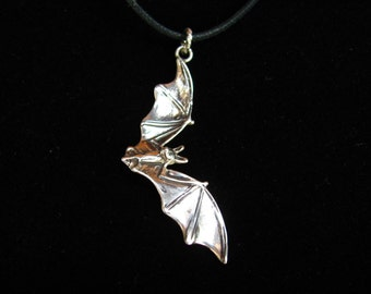 Flying Bat Necklace Halloween or Pendant in Sterling Silver Jewelry Bat Jewelry