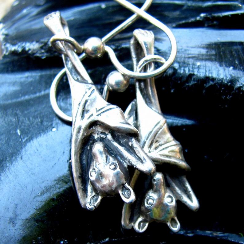 Sleepy Bat Earrings Halloween in Sterling Silver Jewelry Bat image 0