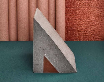 "Extra Large Concrete and Resin ""Wedge"" Bookend. Brutalist-Style Bookend."