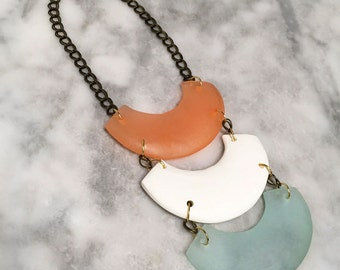 Three Smiles Necklace; Geometric Resin Necklace with Brass Chain