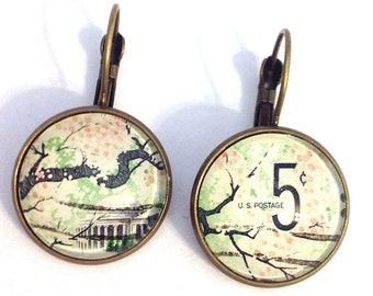 Cherry Blossoms - 1966 US Stamp - Postage stamp jewelry - Vintage Postage Stamp Earrings - French clip earrings in antique bronze finish