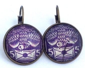 1920s Dove Stamp - Carrier Pigeon - Postage Stamp Jewelry - Vintage Postage Stamp Earrings - French Clip Earrings in Antique Bronze Finish