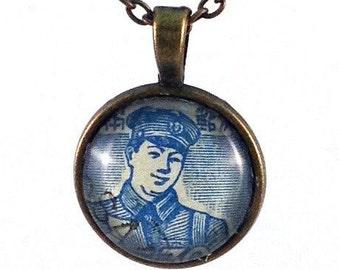 1949 Postman - Japanese Stamp - necklace Postage Stamp Jewelry - Vintage Postage Stamp Necklace - Antique Bronze Finish