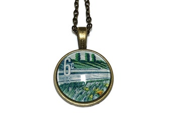 1969 Plant for more beautiful highways US stamp - Postage Stamp Jewelry - Vintage Postage Stamp Necklace - Antique Bronze